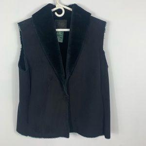 Ralph Lauren black suede faux fur lined vest